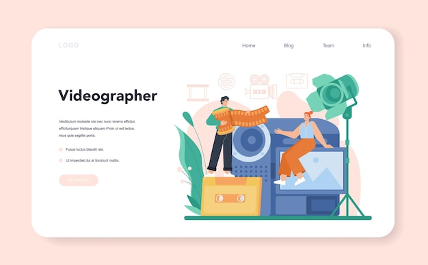 Videographer web banner or landing page