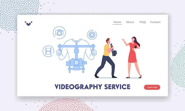 Videography service landing page template. videographer or cameraman character with camera on gimbal stabilizer recording female journalist presenting breaking news. cartoon people vector illustration