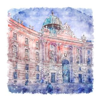비엔나 오스트리아 수채화 손으로 그린 그림