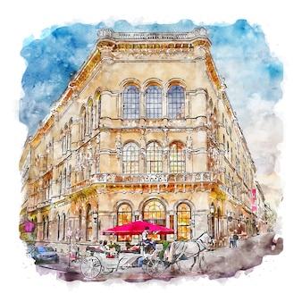 Vienna austria watercolor sketch hand drawn illustration