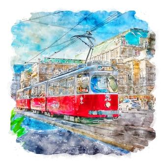 비엔나 오스트리아 수채화 스케치 손으로 그린 그림