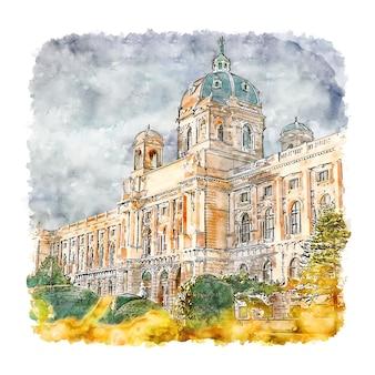 Вена австрия акварельный эскиз рисованной иллюстрации