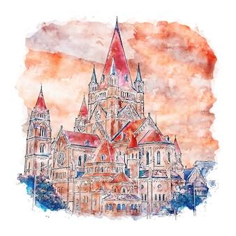 Венский замок австрия акварельный эскиз рисованной иллюстрации