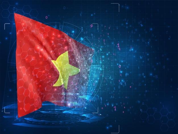 베트남, hud 인터페이스와 파란색 배경에 3d 플래그