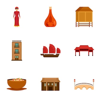 Vietnam attraction icon set, flat style