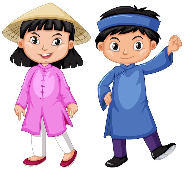 전통 복장에 베트남 소년과 소녀