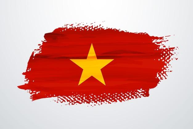 Vietnam brush paint flag