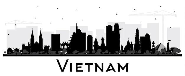 흰색 벡터 일러스트 레이 션에 고립 된 검은 건물과 베트남 도시의 스카이 라인 실루엣