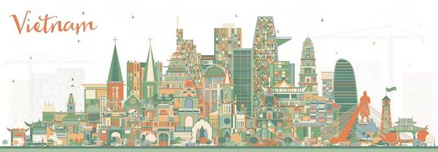 색상 건물이 있는 베트남 도시의 스카이라인. 벡터 일러스트 레이 션. 역사적인 건축과 관광 개념입니다. 랜드마크가 있는 베트남 풍경. 하노이. 호치민. 하이퐁. 다낭.