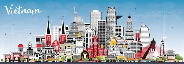 灰色の建物と青い空とベトナムの街のスカイライン。ベクトルイラスト。歴史的建造物と観光の概念。ランドマークのあるベトナムの街並み。ハノイ。ホーチミン。ハイフォン。ダナン。