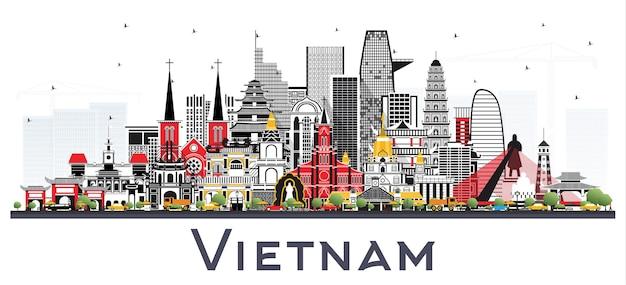 흰색 절연 회색 건물 베트남 도시의 스카이 라인. 벡터 일러스트 레이 션. 역사적인 건축과 관광 개념입니다. 랜드마크가 있는 베트남 풍경. 하노이. 호치민. 하이퐁. 다낭.