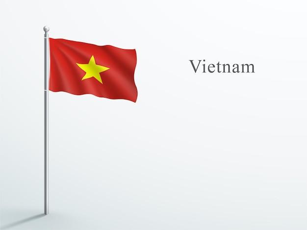 Флаг вьетнама 3d развевается на стальном флагштоке