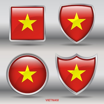 Vietnam flag bevel 4 shapes icon