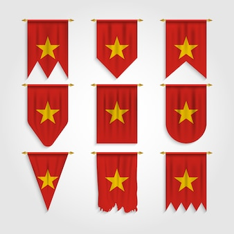 Vietnam flag in different shapes, flag of vietnam in various shapes