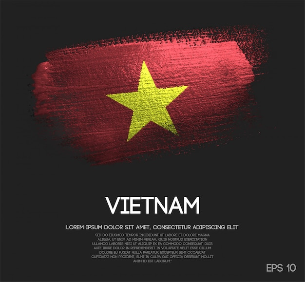 Vietnam flag made of glitter sparkle brush paint