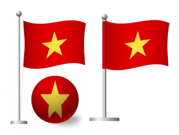 Vietnam flag on pole and ball icon