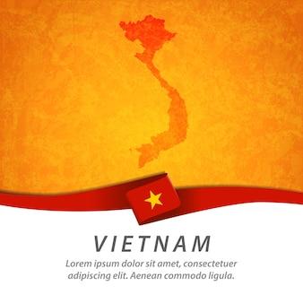 中央地図とベトナムの旗