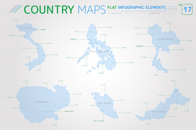 Vietnam, malaysia, philippines, thailand and cambodia vector maps