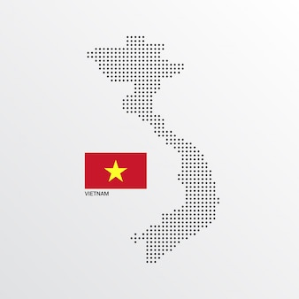 Vietnam Map design with flag and light background vector