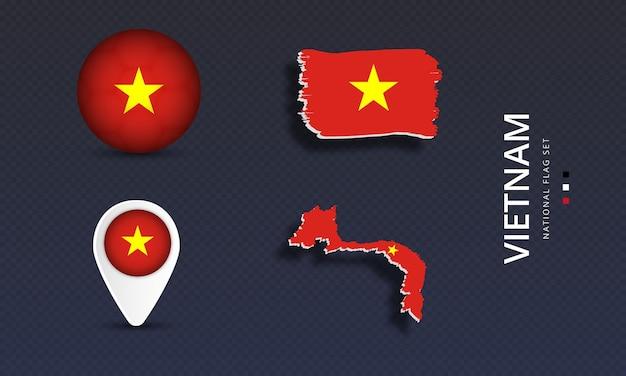 Вьетнамский национальный флаг страны волны установлен