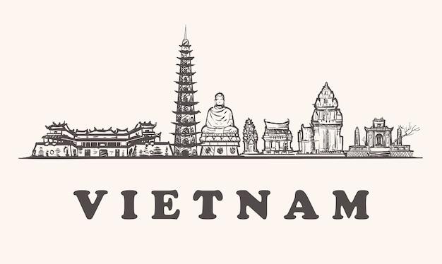 Линия зданий эскиз вьетнам, изолированные на белом фоне