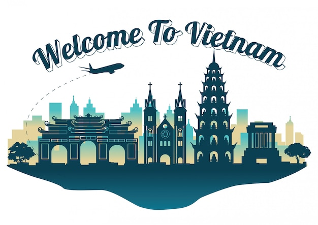 Vietnam top famous landmark silhouette style on island,travel and tourism