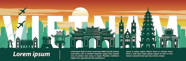 Vietnam top famous landmark silhouette style, text within, travel and tourism