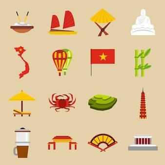Vietnam travel icons set