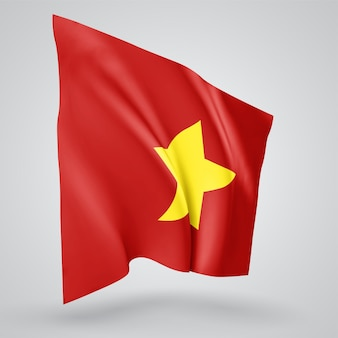 Vietnam, vector flag with waves and bends waving in the wind on a white background.