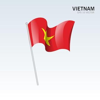 灰色に分離されたベトナムの旗を振っています。