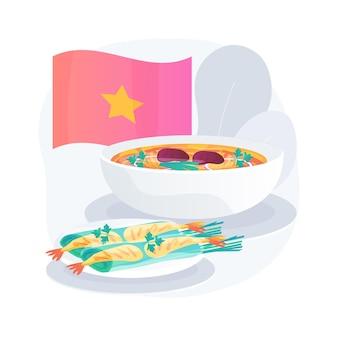 Illustrazione di concetto astratto di cucina vietnamita. posto vietnamita vegetariano, ricetta dell'involtino primavera, menu del ristorante orientale, cibo asiatico piccante, cucina tradizionale vietnamita