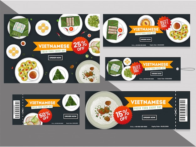 Vietnamese cuisine discount coupons or tags collection