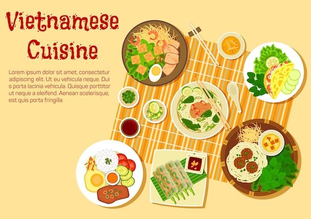 Квартира вьетнамской кухни с видом сверху на семейный ужин с говядиной и рисовой вермишелью, суп, булочка, рисовые тонкие блины, рулетики из креветок, ком там из битого риса с пирожными, котлеты с лапшой