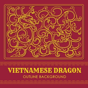 Vietnamese dragon outline background