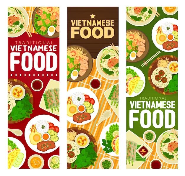 Vietnamese food meals banners.