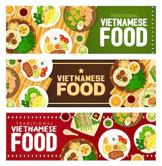 Vietnamese food restaurant banners.