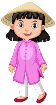 Вьетнамская девушка в розовом наряде