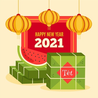 Vietnamese new year 2021 with watermelon