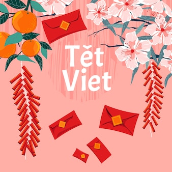 ベトナムの新年のコンセプト。テトベトナムはベトナムの旧正月を意味します
