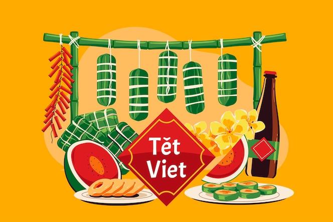 Концепция вьетнамского нового года. тет вьет означает лунный новый год во вьетнаме