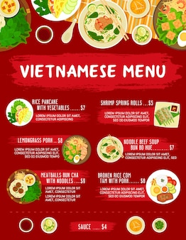 Vietnamese restaurant meals menu.