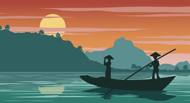 Вьетнамская женщина на лодке, чтобы вернуться домой во время заката, векторные иллюстрации