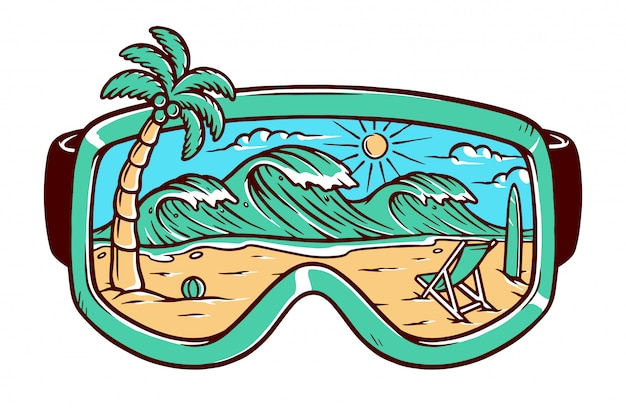 View of the beach in the glasses illustration