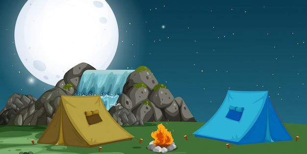 A view of campsite at night