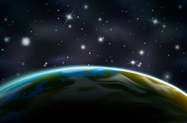 View on earth planet from orbit on night side on space background with bright stars and constellations
