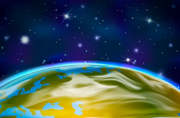 View on earth planet from orbit on space background with bright stars and constellations