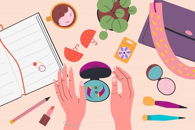 Вид сверху. женщина держит коробку из-под слухового аппарата. обратите внимание, косметика, сумка, аккумулятор, кольца и серьги, растения, чашка чая. красочные иллюстрации в плоском мультяшном стиле.