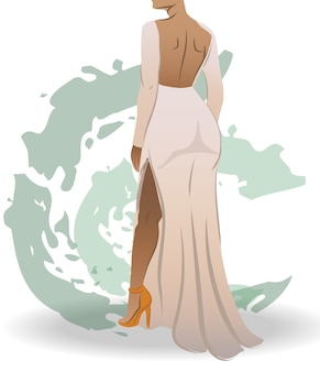 View from back of a fit woman dressed in white dress and orange high heels green abstract strokes