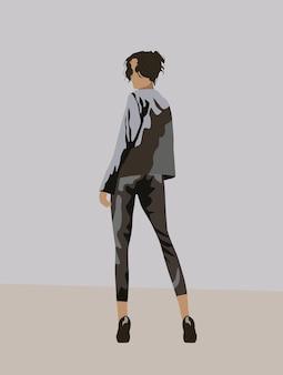 Вид сзади на черноволосую женщину, одетую в серый костюм и черные высокие каблуки, оглядывающуюся назад.