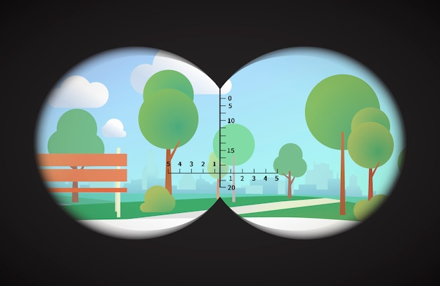 View from binoculars on landscape with park and cityline on background